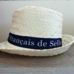 Chapeau de paille ANPFS, paille naturelle, ruban couleur bleu marine avec marquage, taille unique