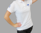Polo ANPFS blanc, modèle Homme et modèle Femme